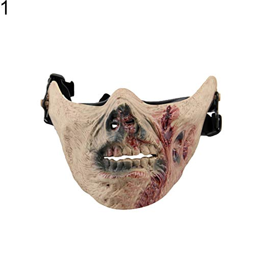 (ChoppyWave Outdoor Cycling Protective Zombie Half Face Halloween Cosplay Tactical Mask)