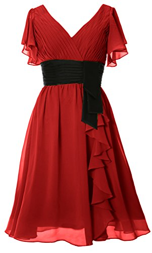 MACloth Elegant Short Sleeve Mother of Bride Dress V Neck Cocktail Formal Gown Burgundy