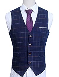 Men's V-Neck Plaid Slim Fit Skinny Business Formal Suit Dress Vest Waistcoat