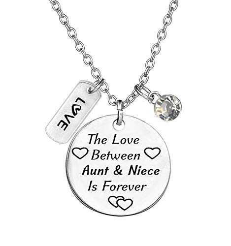 TISDA Birthstone Crystals Necklace,The Love between Aunt and Niece is Forever Necklace Family Jewelry Christmas Gift (April)