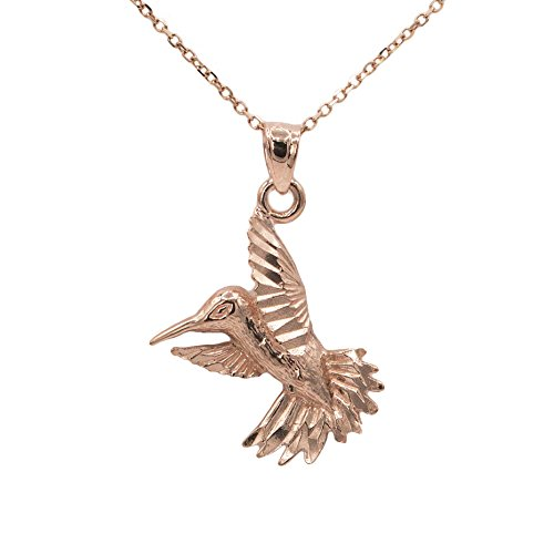 Diamond Hummingbird Pendant (10k Rose Gold Hummingbird Pendant (16