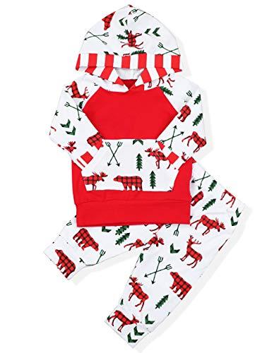 6e003c4fc Baby Christmas Outfit Newborn Girl Boy Pocket Hoodie Cute Reindeer Pants My  First Xmas Clothing Set