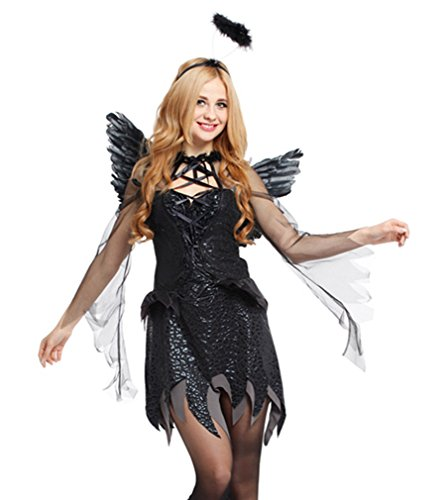 Spooktacular Women's Dark Angel Costume with Elegant Black Dress & Accessories,M