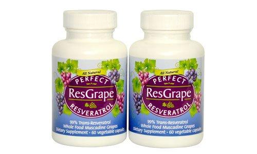Perfect ResGrape - 99 Trans-Resveratrol amp Organic Muscadine Grape - Anti-Aging Supplement amp Potent Antioxidant - 60 Veg Capsules 2-Pack Discount