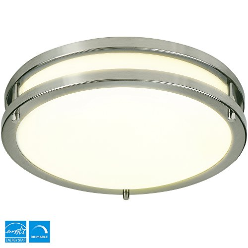LB72118 LED Flush Mount Ceiling Light, Antique Brushed Nickel, 12 Inch, 15W  3000K Warm White, 1050 Lumens, ETL U0026 DLC Listed, ENERGY STAR, Dimmable