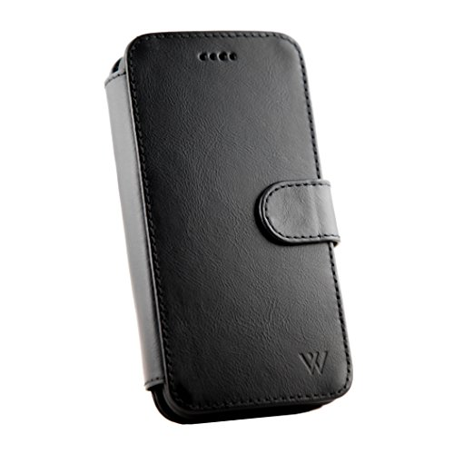 Wilken iPhone X   XS Leather Wallet with Detachable Phone Case   Wireless Charging Compatible   Top Grain Cowhide Leather   Black