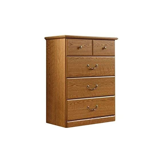 Sauder Orchard Hills 4-Drawer Chest, Carolina Oak finish -  Drawers feature metal runners and safety stops Top drawer features a divider Carolina Oak finish - dressers-bedroom-furniture, bedroom-furniture, bedroom - 41tTGyatKDL. SS570  -