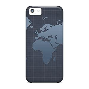 Durable Defender Case For Iphone 5c Tpu Cover(world Blueprint)