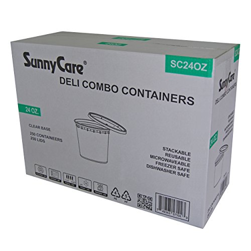 SunnyCare 24 oz.Microwavable Translucent Plastic Deli Container with Lid -(Case of - Container Combo