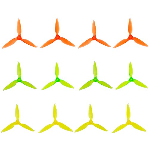 12pcs 5049 Propellers 5 inch 3-Blade Props Triblade CW CCW Propeller for 2205-2307 Brushless Motor 210-260MM FPV Drone Racing Quadcopter Frame Kit by Crazepony (EMAX AVAN-R(Orange Green Yellow))