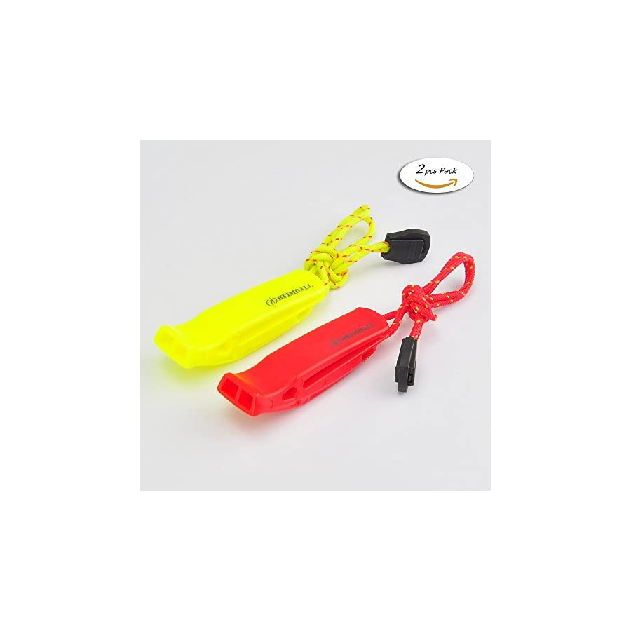 HEIMDALL Safety Whistle with Lanyard (2 Pack) for Boating Camping Hiking Hunting Emergency Survival Rescue Signaling