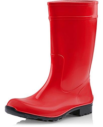 Agua Seguridad Botas Antideslizantes negro La Mujer 967 Zapatos Ladeheid Rojo De 1EqnxA