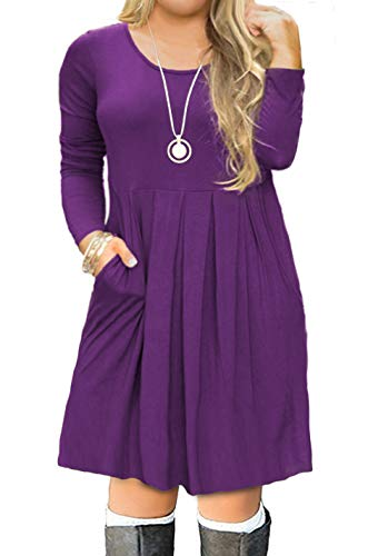 FOLUNSI Women's Plus Size Casual Long Sleeve Pleated T Shirt Dress with Pockets Purple XL -
