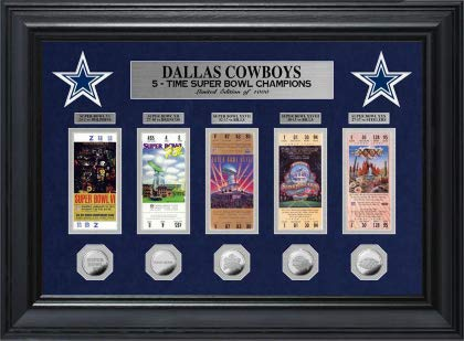 (NFL Dallas Cowboys Super Bowl Ticket and Game Coin Collection Framed)