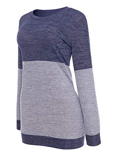 Donne Shirts Tops Bluse e JackenLOVE Maglie Lunga Autunno T Rotondo Primavera Camicie Maglioni Collo Blu Felpe Moda Jumper a Maglietta Casual Patchwork Manica qw8wAtIR