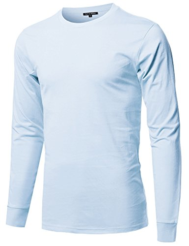 (Style by William Causal Solid Basic 100% Ring Spun Cotton Long Sleeve T-Shirt Blue)