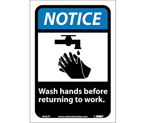 National Marker Corp. NGA7P Notice, Wash Hands Before Returning To Work (W/Graphic) Sign, 10 Inch X 7 Inch, PS Vinyl
