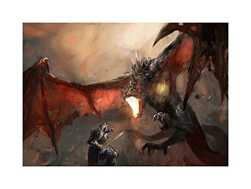 Dragon Slayer Poster - The Art Stop Painting Illustration Fantasy Dragon Slayer Battle Cool Print F12X4729