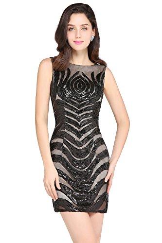 KuDress 2018 Mini Sheath Rround Neck Tight Sequins Homecoming Party Prom Dresses(Customizable) (XXL, Black) by KuDress