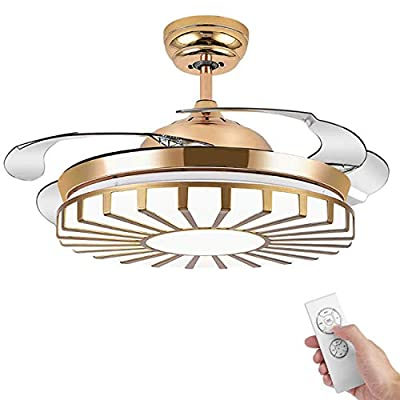 42 Inches Retractable Ceiling Fan Light with Remote Control Three-Color Light Modern Mute Fan Chandelier Bluetooth Built-In Music Player for Bedroom Living Room Study...