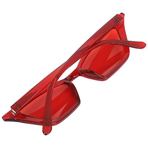 de retro de de rojo Gafas sol Gafas vintage Negro pequenas lujo sol SODIAL Gafas ojo senora de de de S17077 mujer sol Gafas de de gato negras 1wznAqa