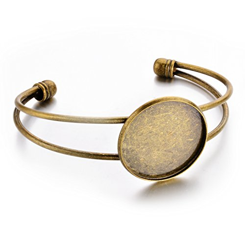 JEWMAY Antique Bronze Bezel Blank Bracelet For Men and Women Pack of 5 Fit 1Inch Round Cabochon,adjustable by JEWMAY