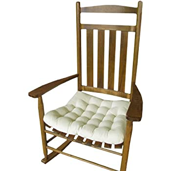 Rocking Chair Seat Cushion W/ Ties   Natural Unbleached Cotton Duck (Solid  Color)