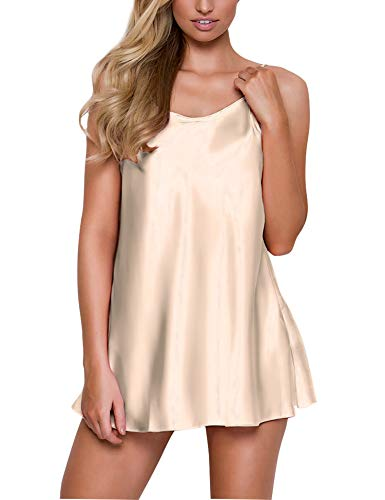 RSLOVE Women's Silk Pjs Satin Lingerie Nightgown Spaghetti Strap Sleepwear Chemise Mini Slip Short Nightwear Champagne XL