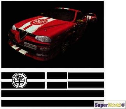 SUPERSTICKI Alfa Romeo Rennstreifen Motorhaube Dach Heck /Sto/ßstange ca 40 cm breitHobby Deko Dekoration A1128 aus Hochleistungsfolie Aufkleber Autoaufkleber Tuningaufkleber Hochleistungsfo