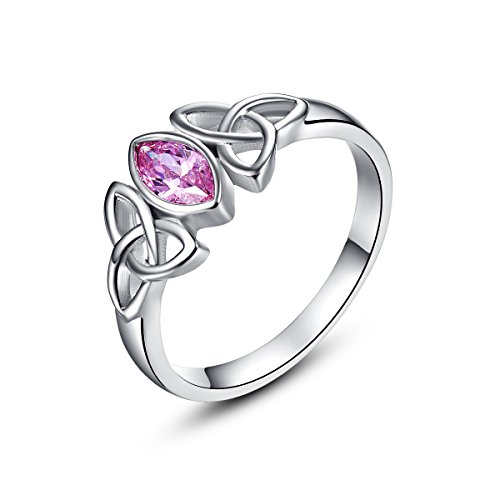 Psiroy 925 Sterling Silver Marquise Cut Created Pink Topaz Filled Trinity Celtic Knot Ring - Trinity Design