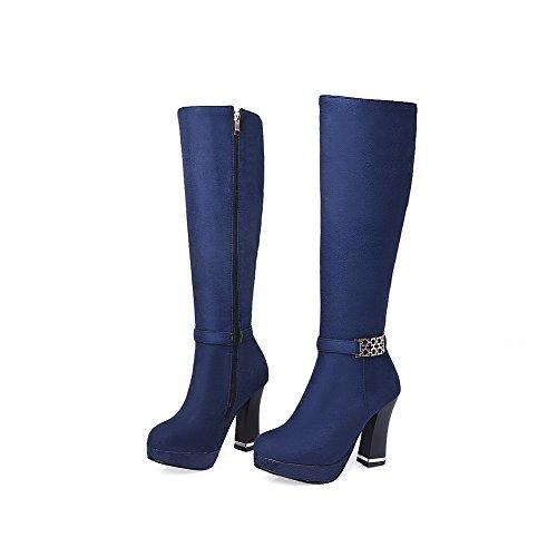 AllhqFashion Mujeres Caña Media Sólido Cremallera Tacón ancho Botas con Ornamento Metal Azul