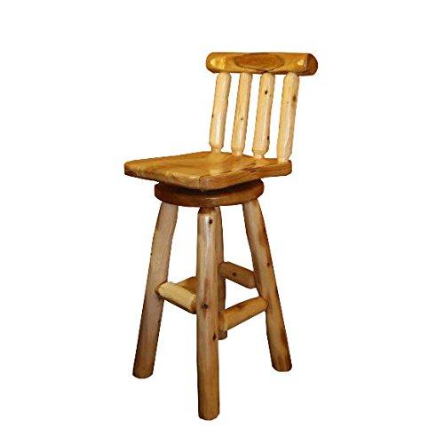 Furniture Barn USA White Cedar Log Bar Swival Bar Stool - Counter Height