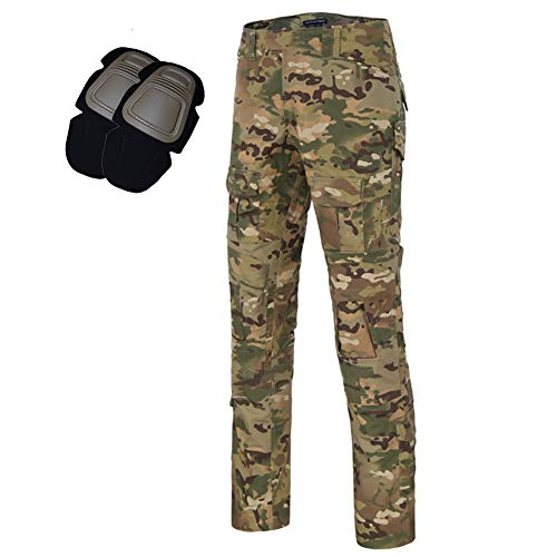 Men's Tactical Airsoft Pants Shirt with Knee Pads Camo Military Combat BDU Long Sleeve Trousers (CP Pants, -