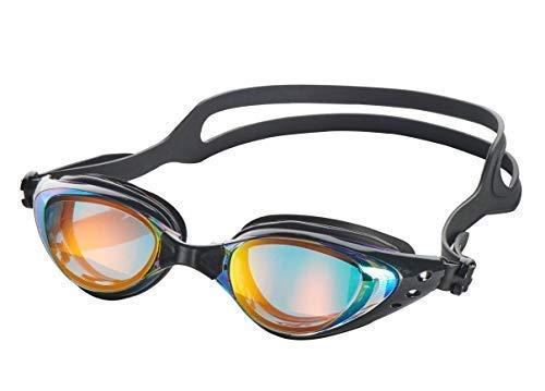 Aquazone Adjustable Swimming Goggles-Premium UV Protection-Anti Fog Swim Goggles with 3 Sizes of Nose Bridges-Free Case for Adult Men Women Youth Kids Child (Black)