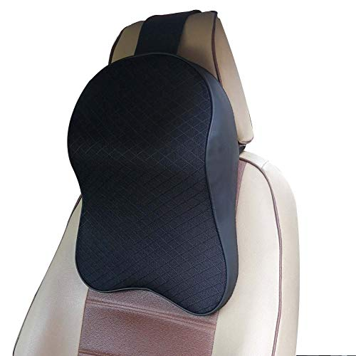 Neck Cushion - ZATOOTO Memory Foam Car Neck Pillow - Neck Support Headrest Pillow - Lumbar Support for Car Two-in-One Back Seat Cushion Black