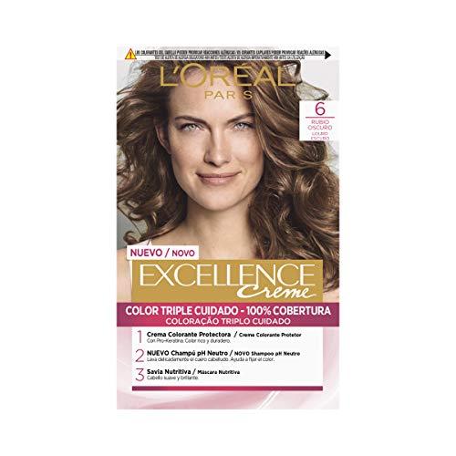 🥇 L'Oréal Paris Excellence Coloración Excellence Crème Triple Protección 6 Rubio Oscuro