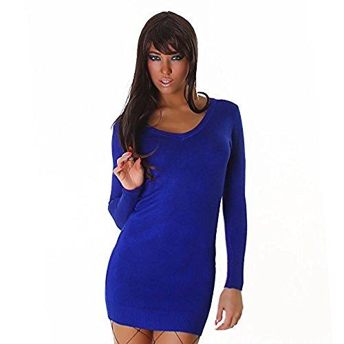 Col en v Bleu multicolore love-Pull à manches longues pour femme Robe Crayon mini-déguisement Taille unique, convient à Partir de 10/12 option cadeau de Saint-Valentin