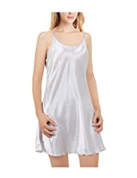 uxcell Women Silky Plus Size Lotus Leaf Hem Basic Dress Full Slip Camisole