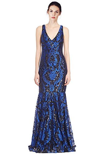 David Meister Gowns - David Meister Embroidered Sequin V-Neck Evening Gown Dress Blue/Black