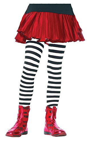 Girls Black and White Striped Tights (Small 4-6) (Kids Black And White Striped Tights)