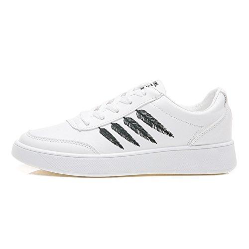 Damen Turnschuhe Stickereien Schnürer Freizeit Schuhe Sneakers Low-Top Schwarz