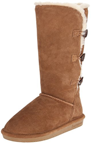 BEARPAW Women's Lauren Tall Winter Boot, Hickory, 8 M (Ladies Sheepskin Boots)