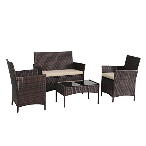Transpearl 4 Pieces Outdoor Rattan Set Indoor Outdoor Use All Weather Patio Furniture Set (3 Seats 1 Table) Backyard Conversation Set