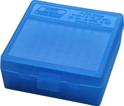 MTM 100 Round Flip-Top Ammo Box 38/357 Cal (Clear Blue)