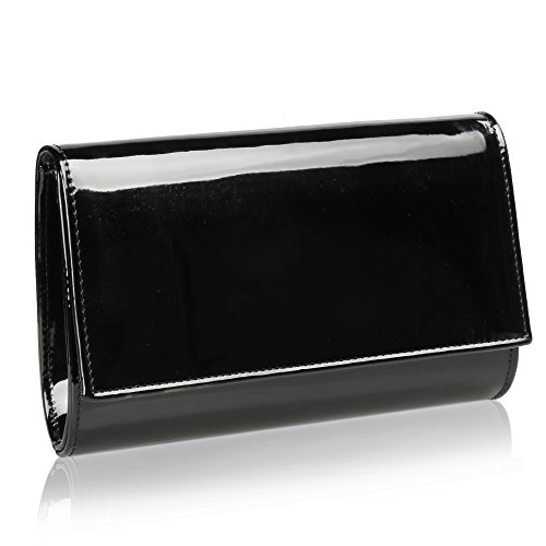 Women Patent Leather Wallets Fashion Clutch Purses,WALLYN'S Evening Bag Handbag Solid Color (New black)