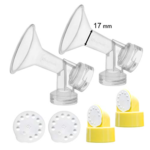 2x 17 mm One-Piece Breastshieldm Extra Small w/Valve, Membrane for Medela Breast Pumps (Pump in Style, Lactina, Symphony); Made by Maymom