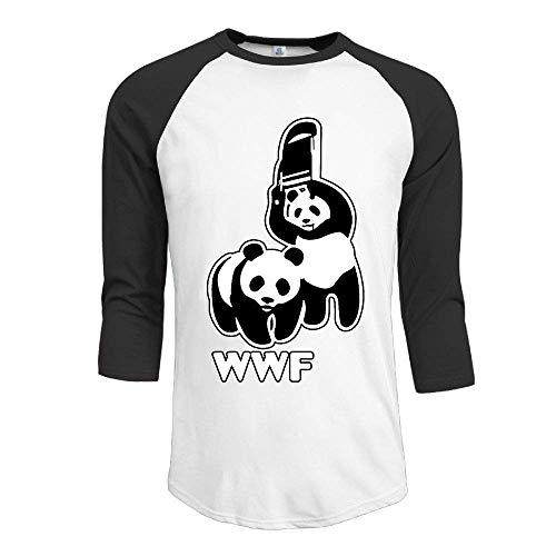 34dddb171 JRMM WWF Funny Panda Bear Wrestling Adult Mens Long Sleeve T Shirts