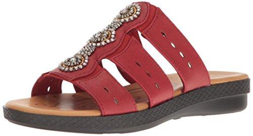 Red Perforated Metal (Easy Street Women's Nori Flat Sandal, Red, 7 M US)
