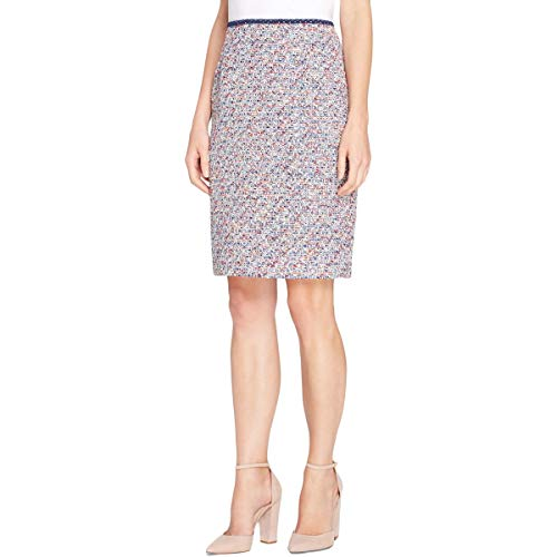 Tahari Womens Boucle Office Pencil Skirt Multi 14 Blue