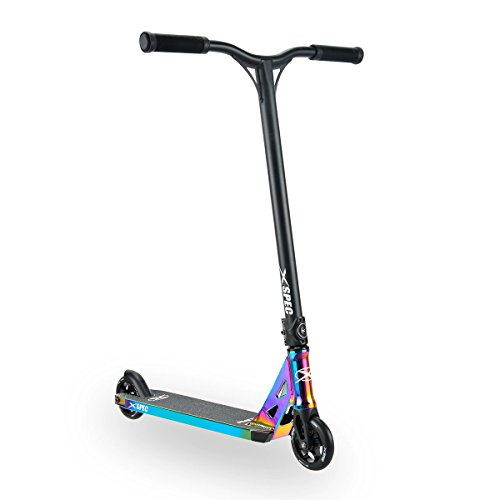 Xspec Pro Stunt Kick Scooter, Unique Oil Slick Anodized Design, Purple Rainbow Neo Chrome